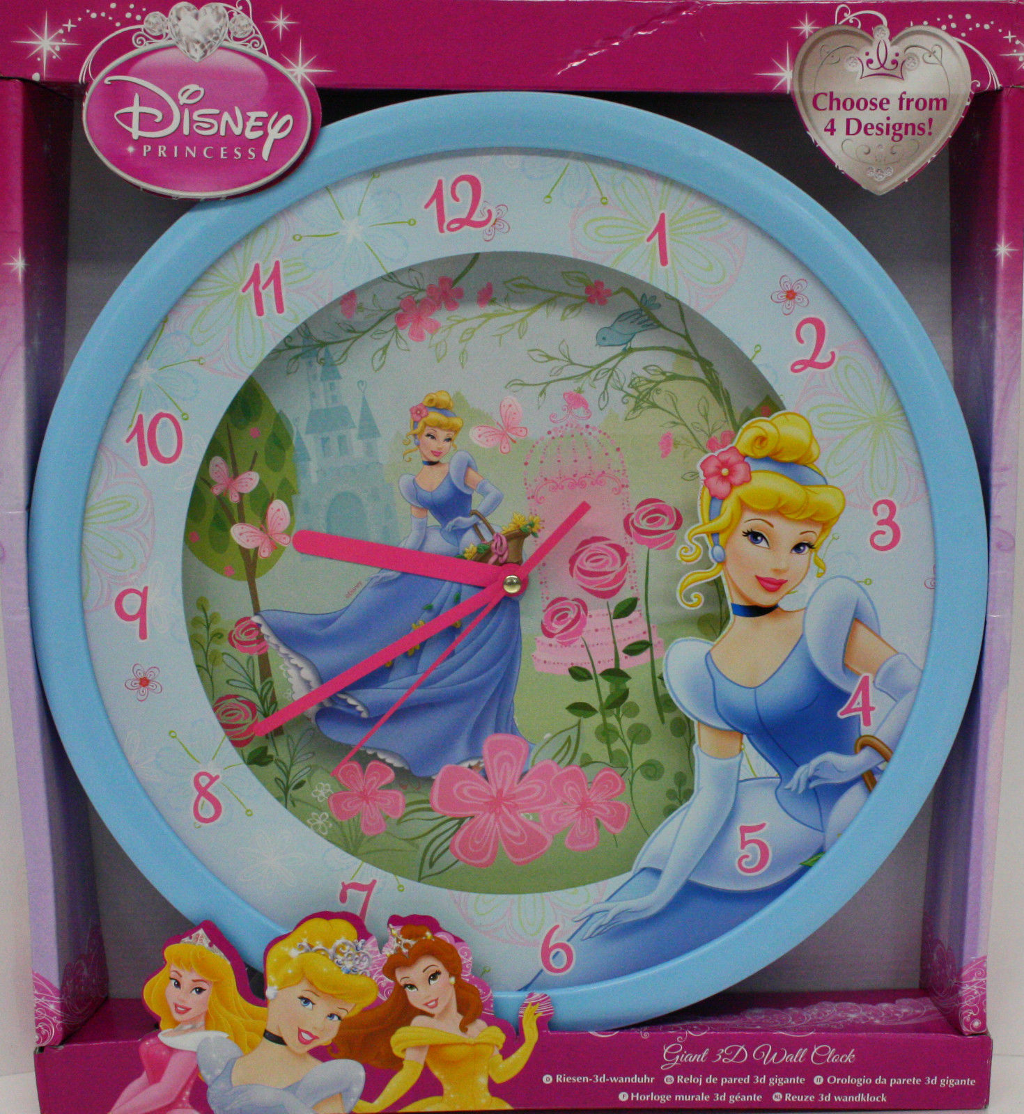 Horloge murale la belle au cendrillon 3d g ante montre disney for Decoration murale geante