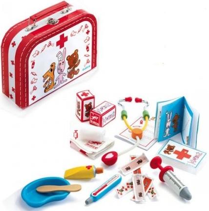 jouet mallette docteur bois acheter valise docteur djeco trousse de docteur avec accessoires. Black Bedroom Furniture Sets. Home Design Ideas