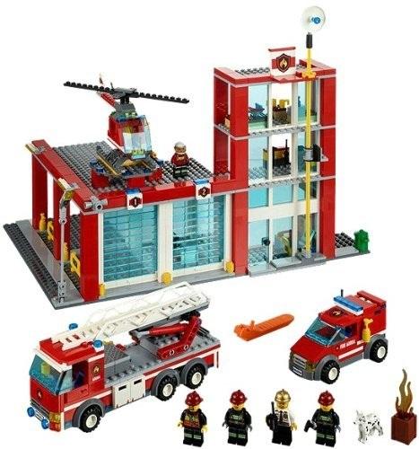 lego city lego 60004 caserne des pompiers lego pas ch re. Black Bedroom Furniture Sets. Home Design Ideas
