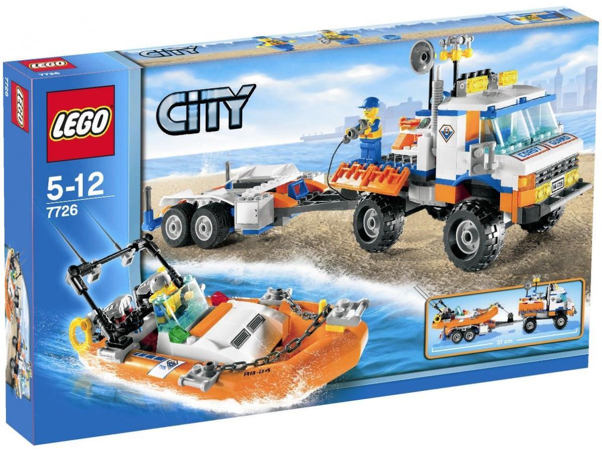 Lego city 7726 le camion des gardes cote et son hors bord - Lego city camion police ...