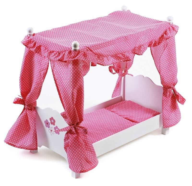 lit baldaquin avec d coration et literie poup e 50 cm. Black Bedroom Furniture Sets. Home Design Ideas
