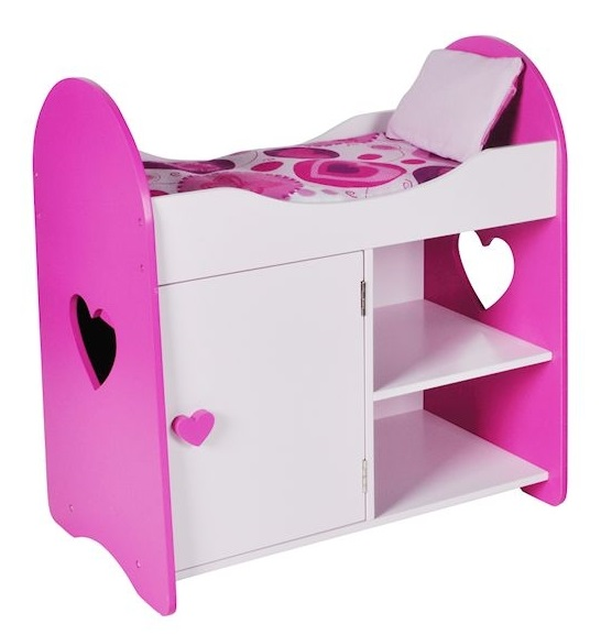 Jouet Lit armoire cur en bois rose blanc  Meuble poupée ~ Lit Pour Poupon En Bois