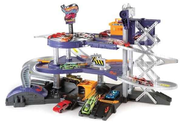 Mattel mega garage circuit 3 niveaux hot wheels city for Garage auto city cadaujac