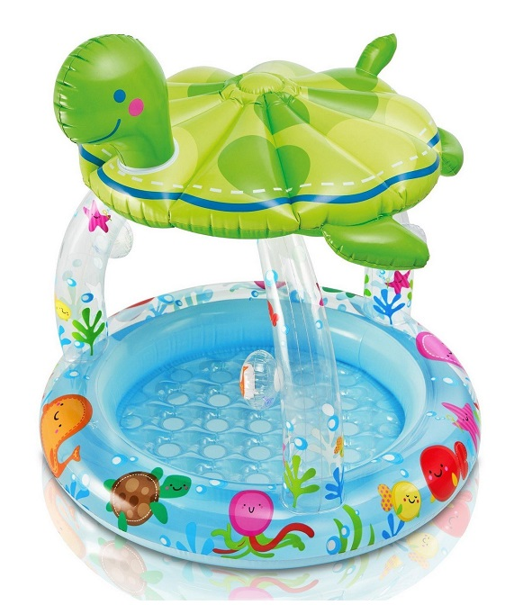 Piscine gonflable b b avec pare soleil tortue intex for Piscine de douche bebe