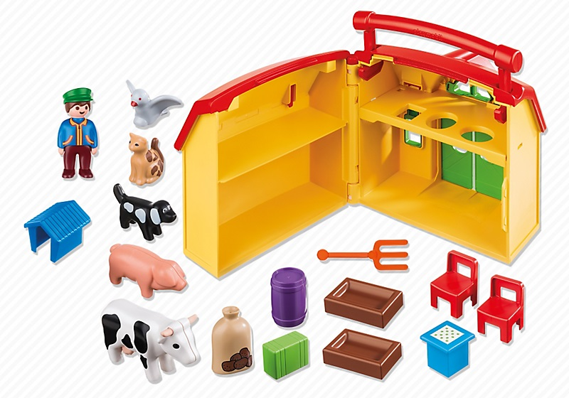 ferme transportable et animaux playmobil 1 2 3 r f 6962. Black Bedroom Furniture Sets. Home Design Ideas