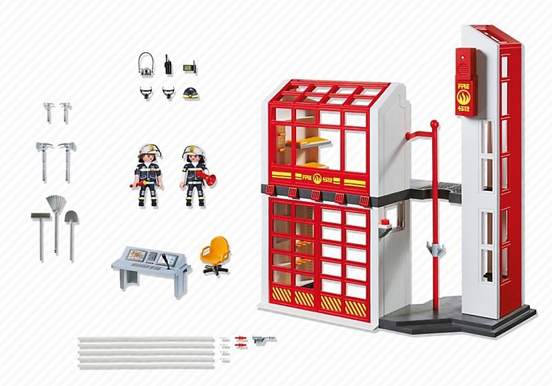 jouet caserne de pompiers avec alarme playmobil 5361. Black Bedroom Furniture Sets. Home Design Ideas