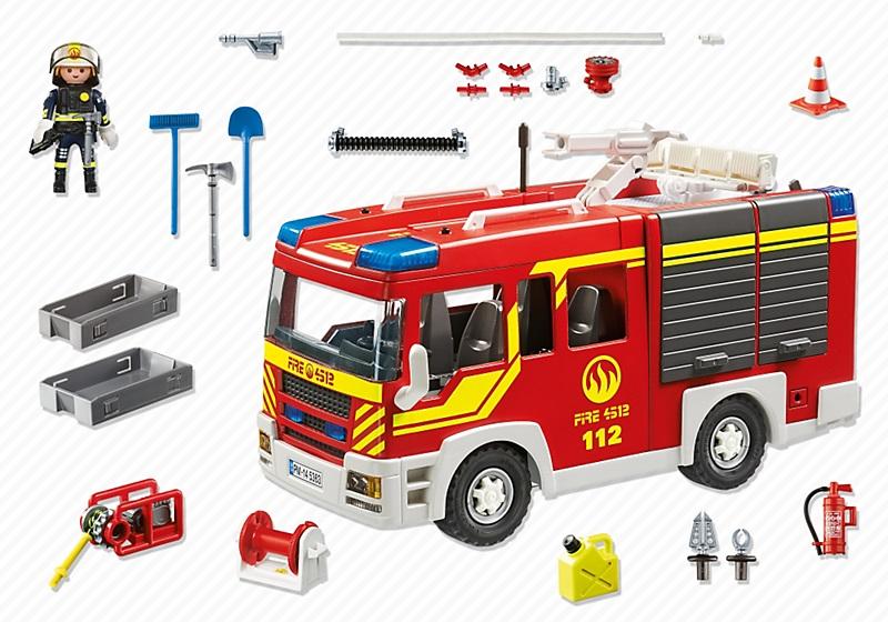 Playmobil 5363 fourgon de pompier avec sir ne et gyrophare - Playmobil de pompier ...
