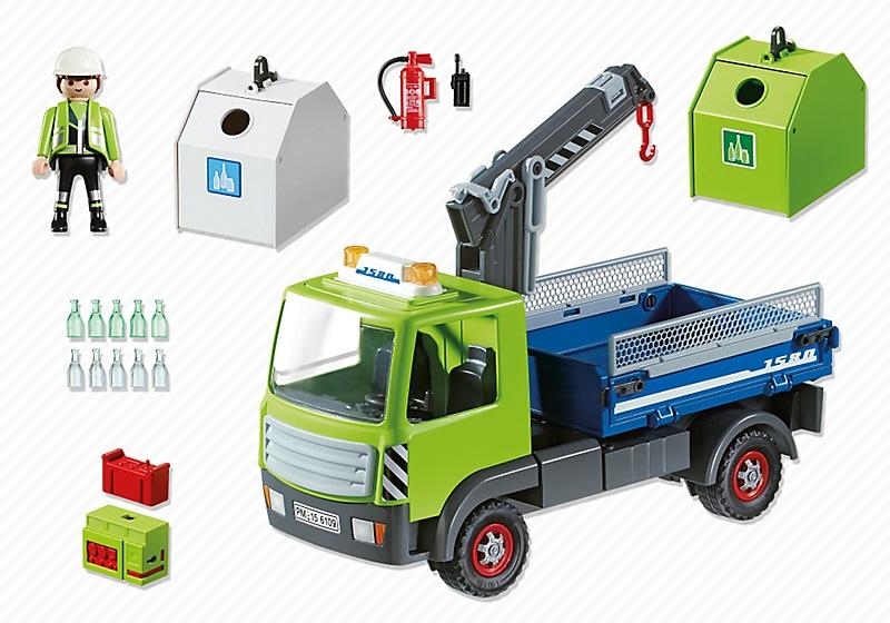 6109 camion avec grue et conteneurs verre de playmobil. Black Bedroom Furniture Sets. Home Design Ideas