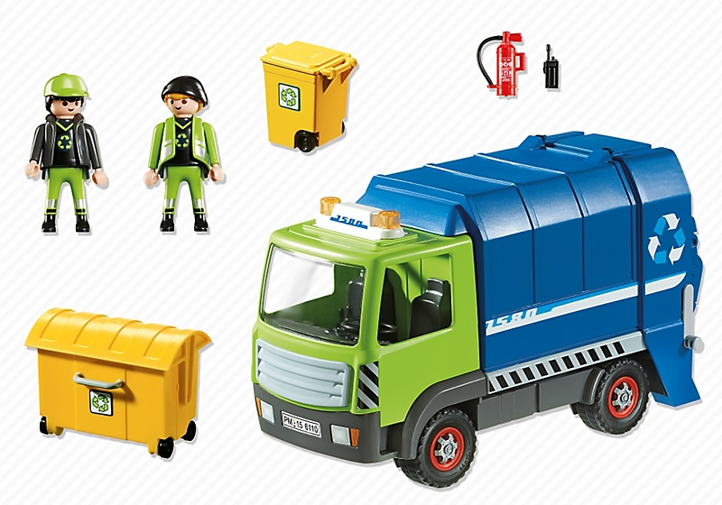 jouet camion poubelle playmobil 6110 recyclage ordures. Black Bedroom Furniture Sets. Home Design Ideas