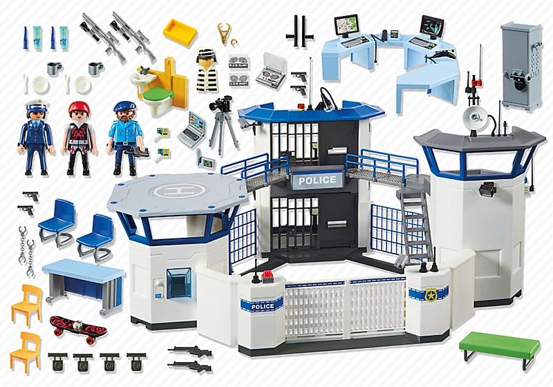 Playmobil city commissariat de police avec prison 6919 - Caserne de police playmobil ...