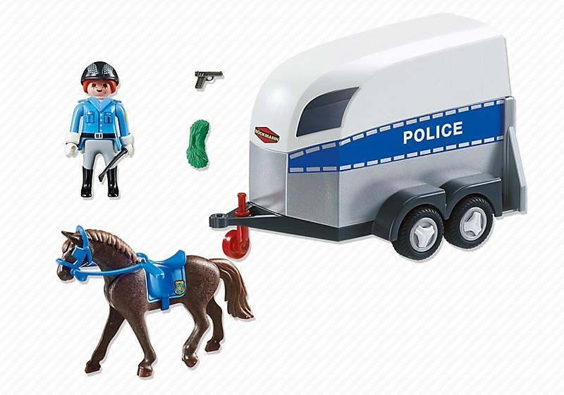 Jouet Playmobil 6922 Polici 232 Re Avec Cheval Et Remorque