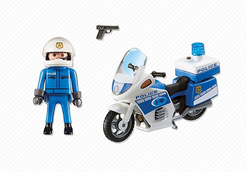 playmobil 6923 moto de policier avec gyrophare pas cher. Black Bedroom Furniture Sets. Home Design Ideas