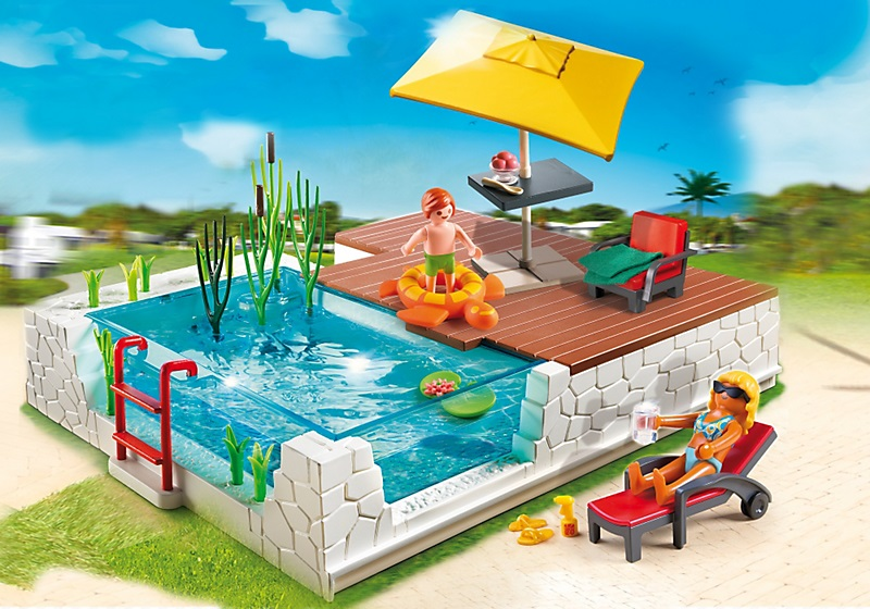 jouet playmobil city maison 5575 piscine avec terrasse. Black Bedroom Furniture Sets. Home Design Ideas