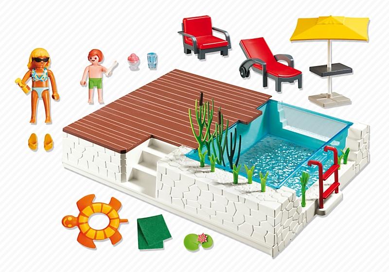 jouet playmobil city maison 5575 piscine avec terrasse