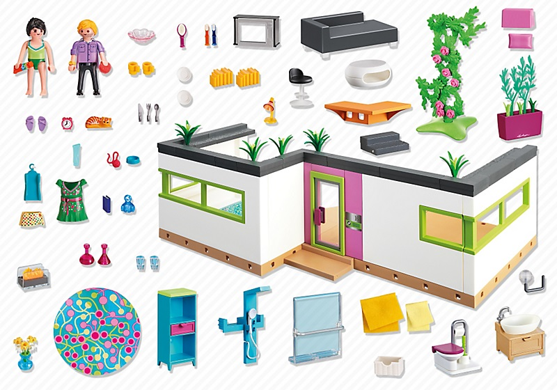 studio des invit s 5586 playmobil villa moderne de luxe. Black Bedroom Furniture Sets. Home Design Ideas