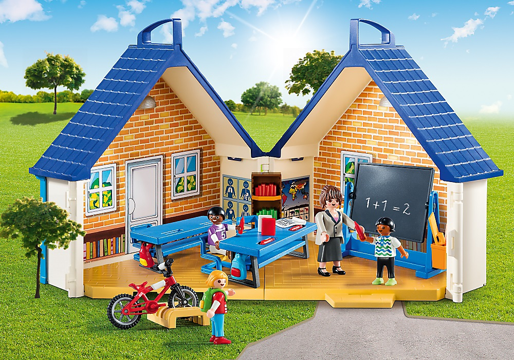 5662 playmobil ecole transportable avec salle de classe for Transportables haus