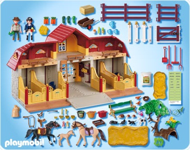 5221 haras avec chevaux et enclos de playmobil. Black Bedroom Furniture Sets. Home Design Ideas