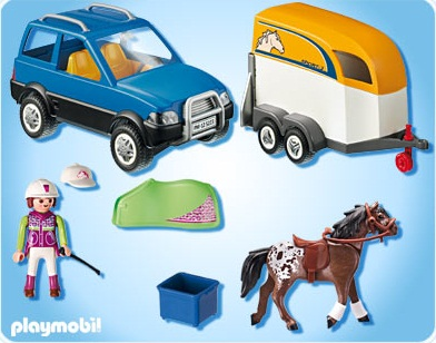 5223 voiture avec remorque et cheval de playmobil. Black Bedroom Furniture Sets. Home Design Ideas