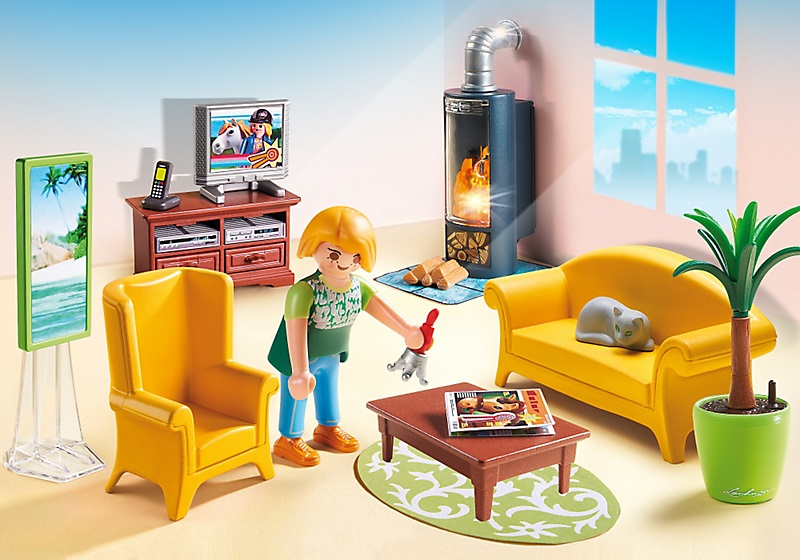 playmobil maison tradition 5308 salon avec po le bois. Black Bedroom Furniture Sets. Home Design Ideas