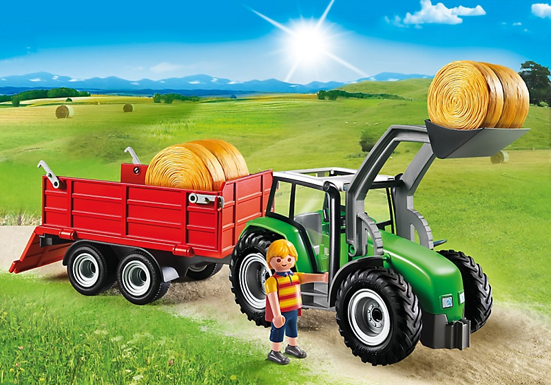 Jouet playmobil 6130 tracteur avec pelle et remorque - Tracteur remorque enfant ...