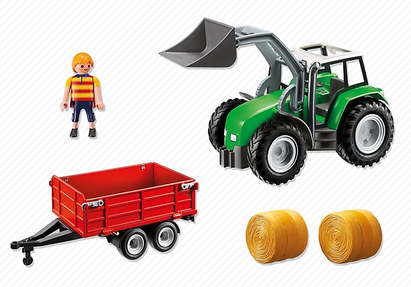 jouet playmobil 6130 tracteur avec pelle et remorque. Black Bedroom Furniture Sets. Home Design Ideas