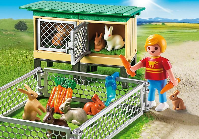 playmobil enfant avec enclos lapins et clapiers 6140. Black Bedroom Furniture Sets. Home Design Ideas