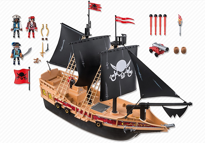 jouet playmobil grand bateau pirates des t n bres 6678. Black Bedroom Furniture Sets. Home Design Ideas