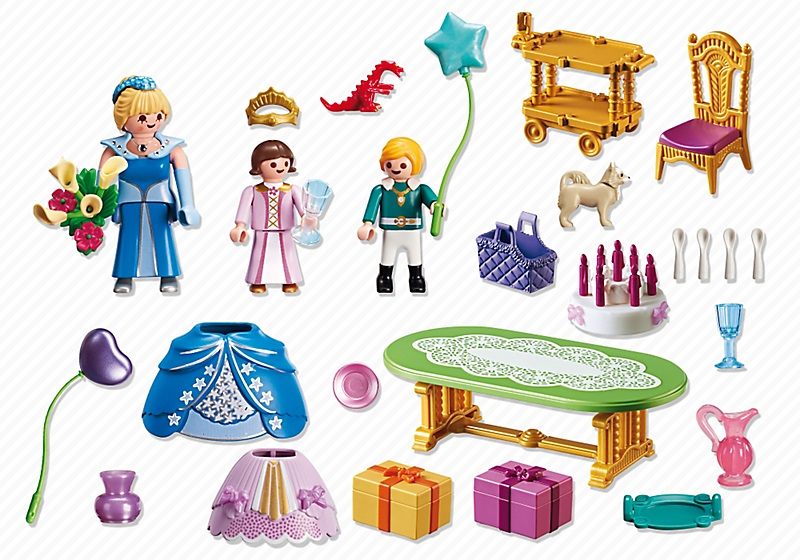 Jouet playmobil 6854 salle manger anniversaire princier for Salle manger playmobil