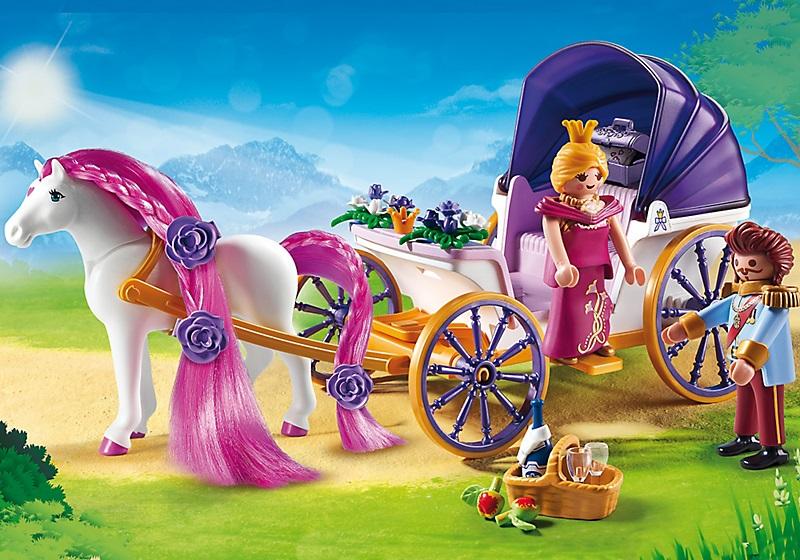 playmobil princesse 6856 caleche royale avec cheval a coiffer