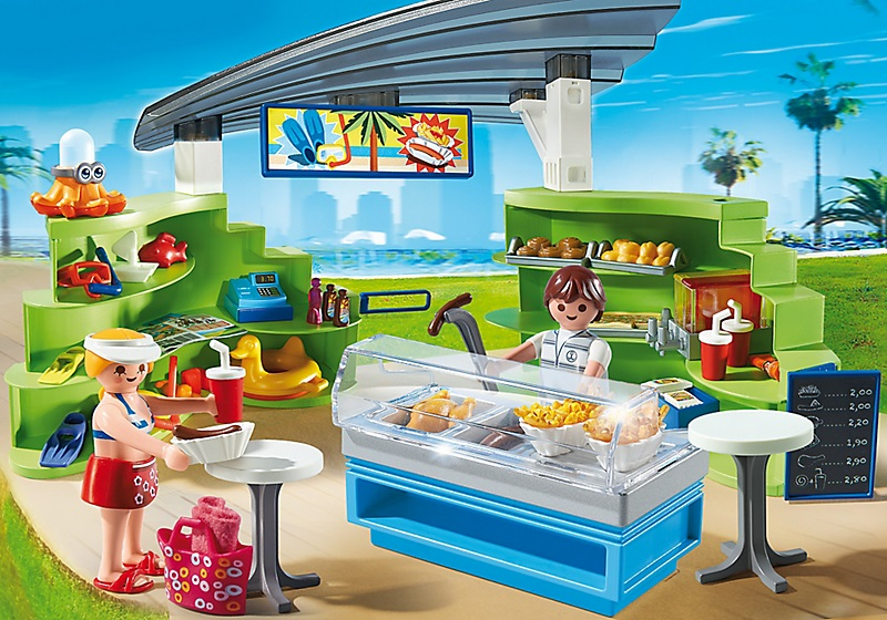 Espace boutique et fast food playmobil vacances t 6672 for Marchand de piscine