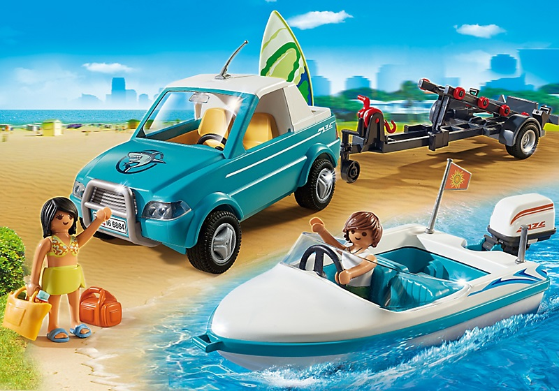 playmobil 6864 voiture avec bateau et moteur submersible. Black Bedroom Furniture Sets. Home Design Ideas
