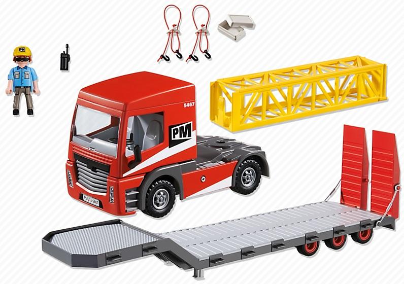 Playmobil 5467 tracteur routier remorque camion plateau chantier - Playmobil camion ...