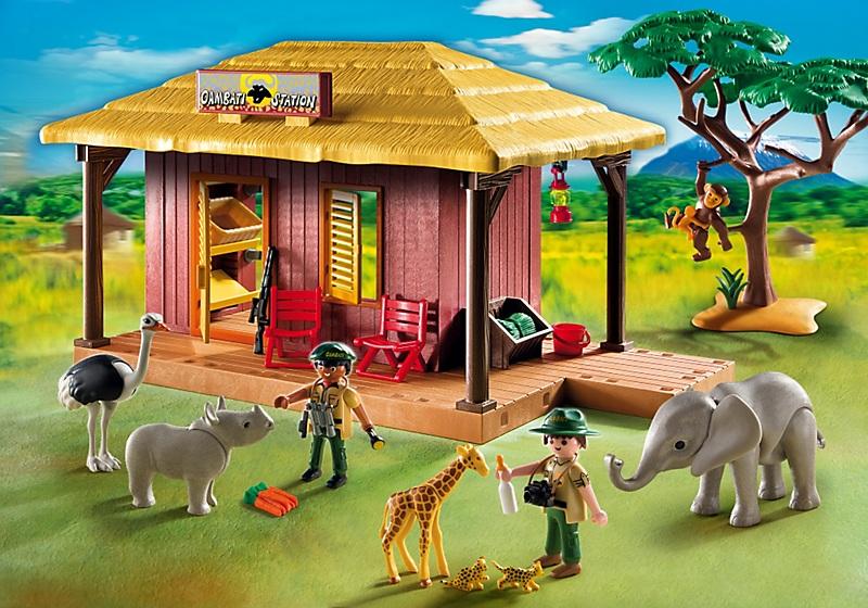 playmobil 5907 campement des soigneurs avec b b s animaux. Black Bedroom Furniture Sets. Home Design Ideas