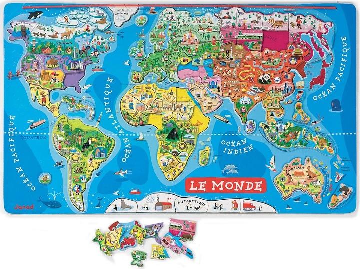 Puzzle monde magntique en bois Janod Carte du monde enfant 7 ans ~ Le Monde Du Jouet En Bois
