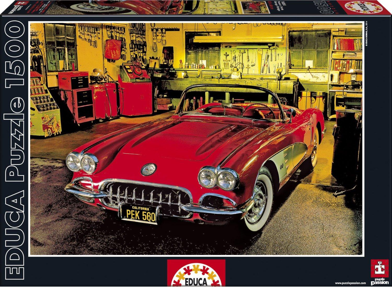 educa 16004 puzzle 1500 pi ces garage vintage voiture rouge. Black Bedroom Furniture Sets. Home Design Ideas