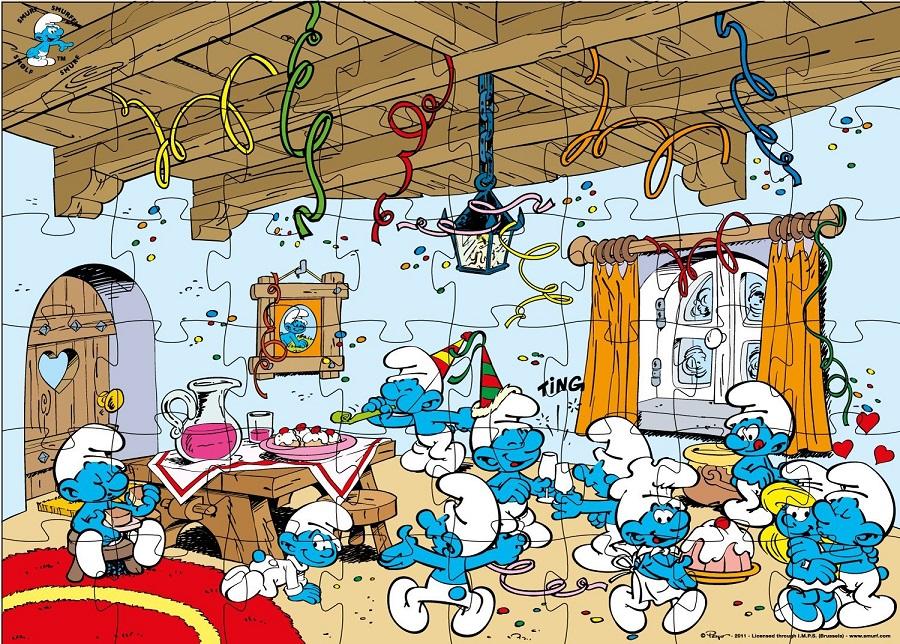 Dujardin 8221 puzzle enfant les schtroumpfs maison 48 pi ces - Schtroumpf maison ...