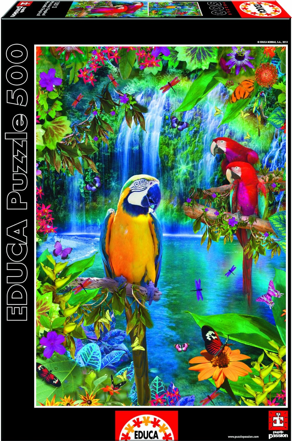 PUZZLE PERROQUET  PARADIS TROPICAL 500 PIECES , COLLECTION ANIMAUX , EDUCA  , 15512