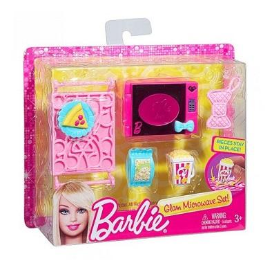 Micro ondes et accessoires cuisine poup e barbie mattel for Accessoires maison barbie