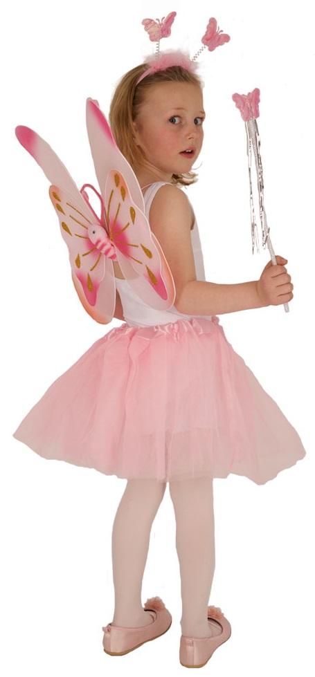 7e040528043 SET PAPILLON ROSE ENFANT FILLE - KIT DEGUISEMENT FEE 4 PIECES