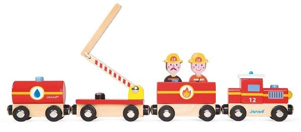 Train pompiers en bois janod story 6 pi ces jouet jeu for Pelleteuse jouet exterieur