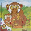 PUZZLE EN BOIS SINGE ET SON PETITS 4 PIECES - BEEBOO - PUZZLE A ENCASTRER AVEC BOUTONS - 0000002C