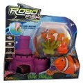 SET ROBO FISH : POISSON ORANGE ET BLANC AVEC CHATEAU + 2 CORAUX - KIT DE DECORATION - POISSON CLOWN - 31319G