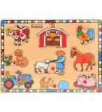PUZZLE EN BOIS ANIMAUX DE LA FERME 9 PIECES - BEEBOO - PUZZLE A ENCASTRER AVEC BOUTONS - 0000093D