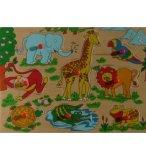 PUZZLE EN BOIS ANIMAUX SAUVAGES 8 PIECES - TOYS - PUZZLE A ENCASTRER AVEC BOUTONS - 610268A