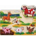 PUZZLE EN BOIS LES ANIMAUX DE LA FERME - 6 PIECES - EICHHORN - PUZZLE A ENCASTRER - PUZZLE AVEC BOUTONS