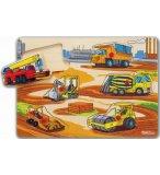 PUZZLE EN BOIS LES TRAVAUX PUBLICS : VEHICULE DE CHANTIER - 6 PIECES - EICHHORN - PUZZLE A ENCASTRER - PUZZLE AVEC BOUTONS